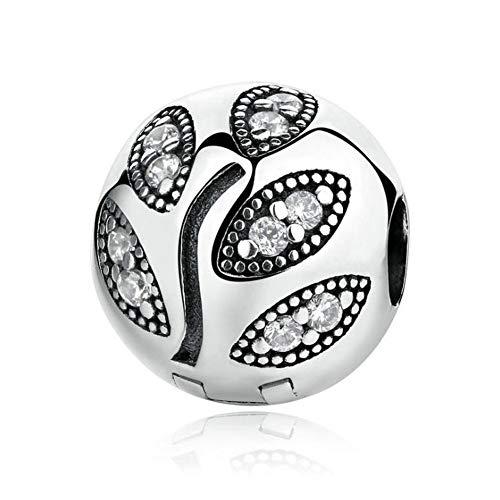 Romántico Amor Leaf Clips Charm 925 Sterling Silver Lock Stopper Beads fit Pandora Bracelets (Lock 925 Silver)