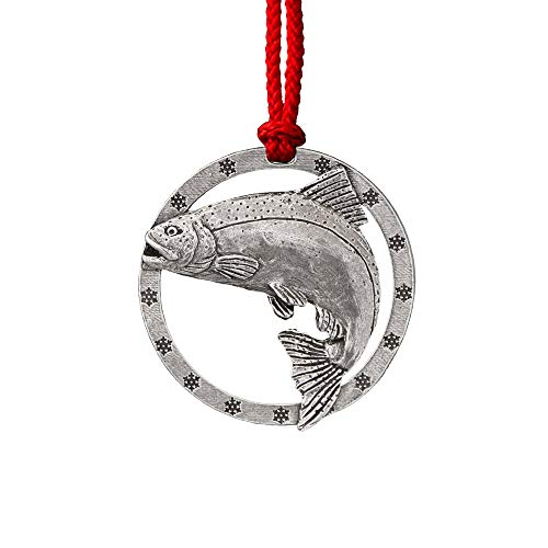 Creative Pewter Designs, Pewter Chinook Ocean Salmon Leaping Holiday Ornament, Antiqued Finish, F043AOR