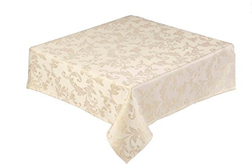 34 inch 85cm square christmas tablecloth gold jacquard woven leaf design easycare 13658 - Square Christmas Tablecloth