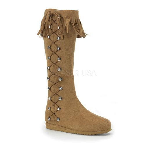 Pleaser INDIAN-120 Womens Shoes, Tan Microfiber, Size 8 (Indian Costume Boots)