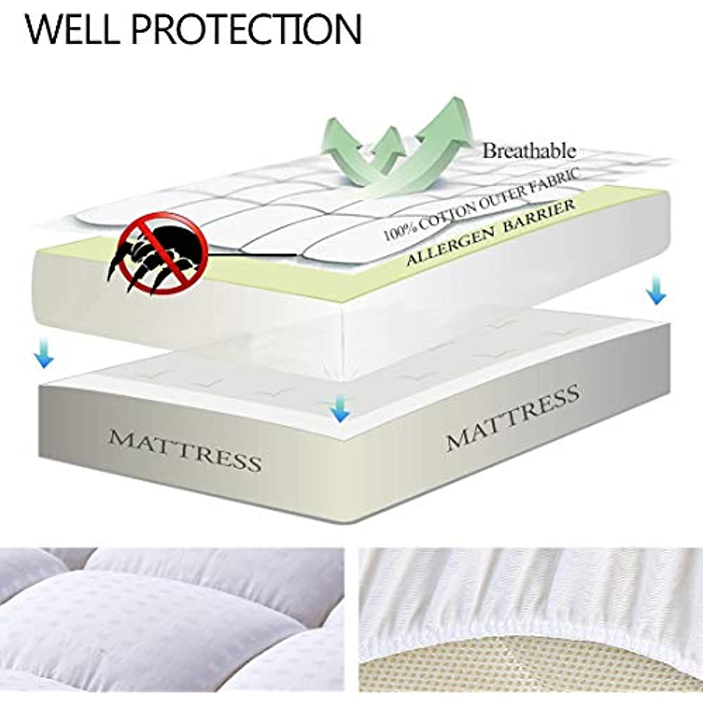 Easeland Quilted Mattress Pads Fitted Cal King Mattress