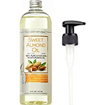 Sweet Almond Oil for Hair and Skin, 100% Pure and Cold Pressed, Hexane Free, Skin Moisturizer, Nails, Therapeutic Massage, Carrier Oil - by Pure Body Naturals 16 Fl. Ounce