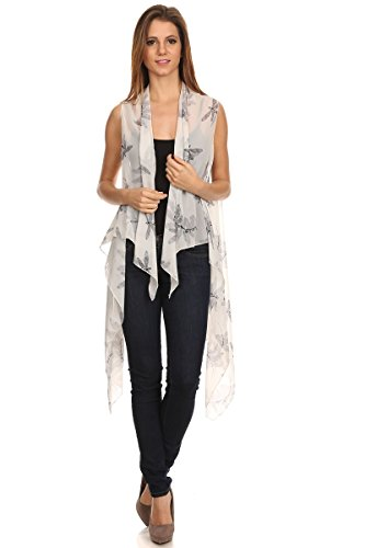 BSB LL- Womens Stylish Off White Dragonfly Kimono Open Front Poncho Light Chiffon Summer Vest