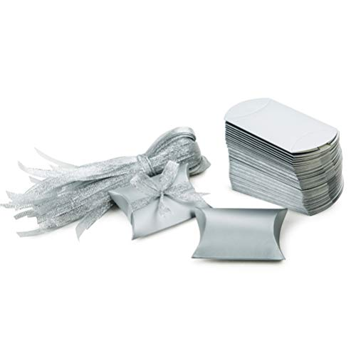- MOWO Silver Pillow Candy Box Silver Ribbon Pack of 50