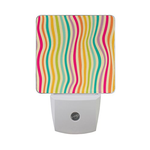 ALAZA Colorful Rainbow Zebra Chevron Plug-in LED Dusk to Dawn Sensor Night Light, Cool-Touch Design Wall Light for Bedroom Kitchen Hallway Stairway or Any Dark Room