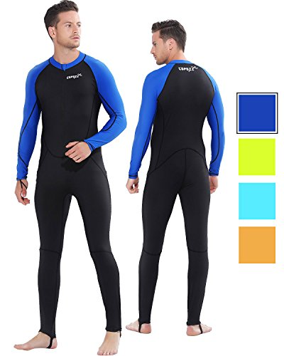 COPOZZ Wetsuit Mens Womens Youth Wetsuit - Full Body UV Protection - for Diving Snorkeling Surfing Spearfishing Sport Skin (Black/Navy-Blue, XXX-Large for Men)