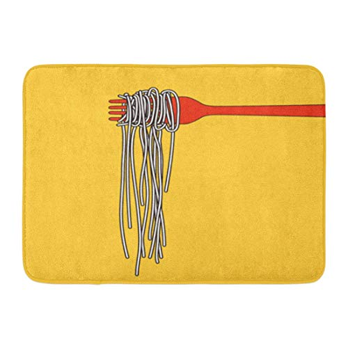 Puyrtdfs Doormats Bath Rugs Outdoor/Indoor Door Mat Yellow Food Pasta Spaghetti Into Folk Abstract Bowl Soup Dinner Eat Bathroom Decor Rug 16