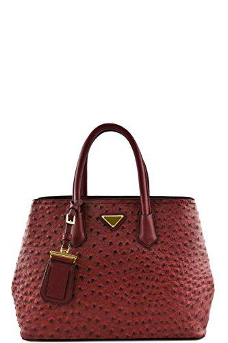 Women's Designer Faux Leather Ostrich Top Handle Bag VA2012 Wine