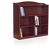 Guidecraft 5-Shelf Cherry Bookcase - Adjustable Shelves, Home & Office Organizer Furniture, Book Display