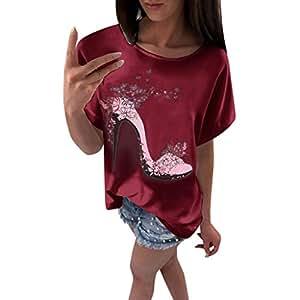 Chiccc Blusa tipo túnica para mujer, de manga corta, con ...