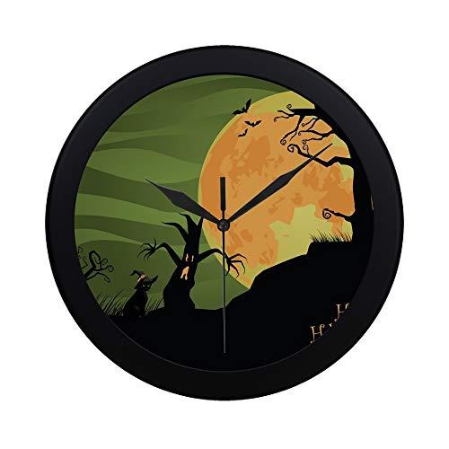 Modern Simple Creepy Halloween Trees Cat Jpg Stock Illustration Pattern Wall Clock Indoor Non-Ticking Silent Quartz Quiet Sweep Movement Wall Clcok for Office,Bathroom,livingroom Decorative 9.65 -