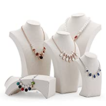 """White Linen Necklace Display Holder Jewelry Bust Figure Jewelry Display Stand (H9.8"""")"""