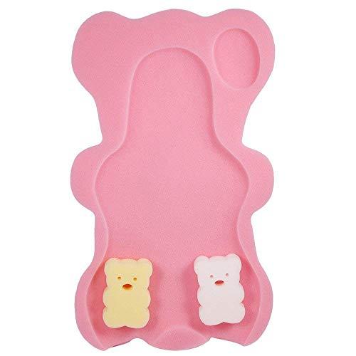(Potelin 1PCS Baby Comfy Bath Sponge Mat Soft Anti-Slip Bath Cushion in Teddy Bear Shape for Toddlers Infant Pink)