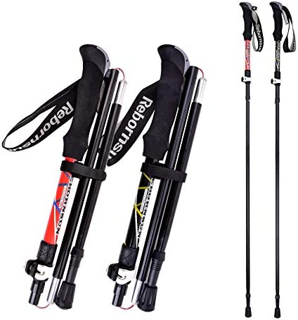 Collapsible Adjustable Walking Sticks Lightweight 7075 Aluminum KINGGEAR Trekking Poles Tungsten Tips for Hiking Anti-Sweat Cork Nordic Walking and Cross Trekking Quick Flip Lock
