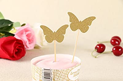 50pcs Cupcake Topper Gold Glitter butterfly Cupcake Toppers Wedding Bamboo Fruit Cocktail Forks Party Finger Food Wedding Cupcake Toppers, Bridal Shower Cupcake Toppers Valentine's Day Cupcake Toppers