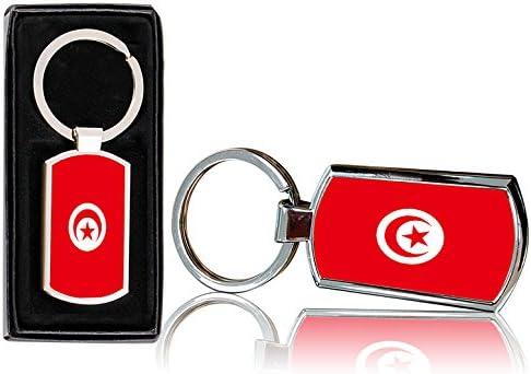 /0234 VVM Tech bandiera della Tunisia design stampato portachiavi in metallo cromato rettangolare con free Gift Box/