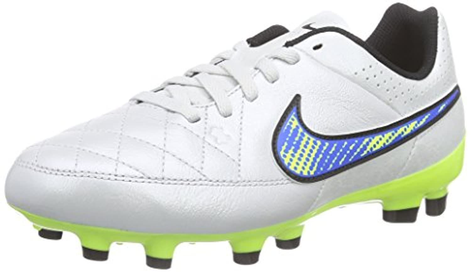 Nike Tiempo Genio Leather Firm Ground, Unisex Kids' Football Boots, Black/White/Black, 2 UK