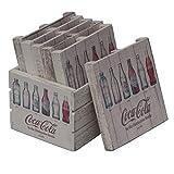 Coca-Cola Evolution Bottles Wood Crate Pallet Coaster Set