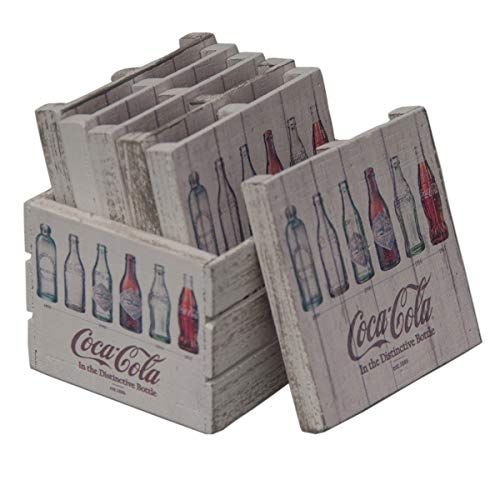 Coca-Cola Evolution Bottles Wooden Crate Pallet Coaster Set kitchen decor (Crate Wooden Cola Coca)