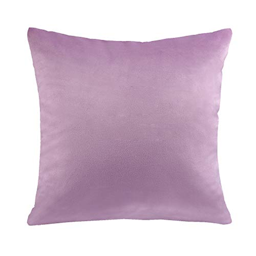 Phantoscope Soft Cozy Velvet Throw Pillow Solid Square Cushion Cover Pink Purple 20 x 20 inches 50 x 50 cm ()