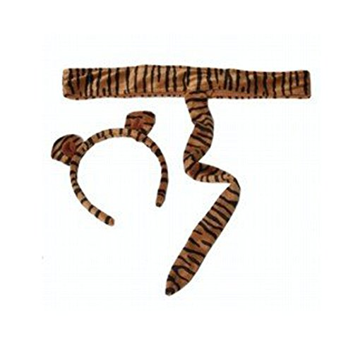 Kids Plush Tiger Headband Ears Tail Safari Dressup Halloween Costume -