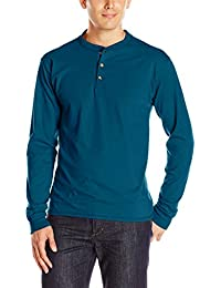Men's Long-Sleeve Beefy Henley T-Shirt - Large - Petro Teal