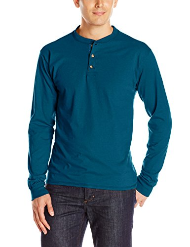 Hanes Men's Long-Sleeve Beefy Henley T-Shirt - Medium - Petro Teal