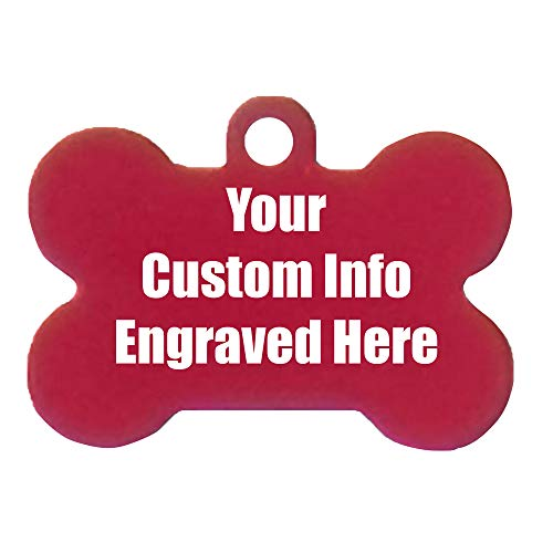 Hat Shark Custom Personalized 3D Laser Engraved Bone Shaped Pet ID Tag (Red)
