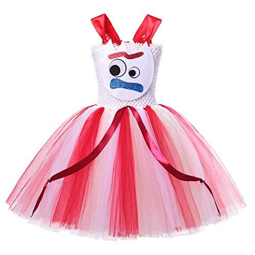 Red Tutu Halloween City (Little Girls Costume Princess Dress Up Halloween Tulle Tutu Dresses (Red-Forky, 5-6)