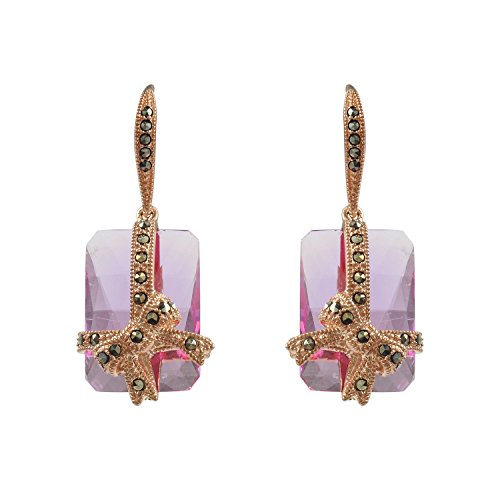 - Aura 925 Sterling Silver Earring Pink Syn Corundum, Marcasite With Rose Gold Plated