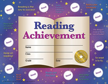 Reading Achievement Certificate (Set of 30) (Reading Certificate Achievement)