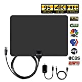 HD Digital TV Antenna. 60-95 Miles Range - Support 4K 1080P VHF UHF & Older TV's Digital Antenna with Amplifier Signal Booster,13.2ft Coax Cable