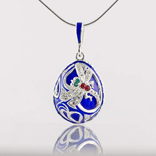 (Blue Pendant Dragonfly on Leaves Sterling Silver Pendant w Crystals Enamel Jewelry Gift for Women Necklace)