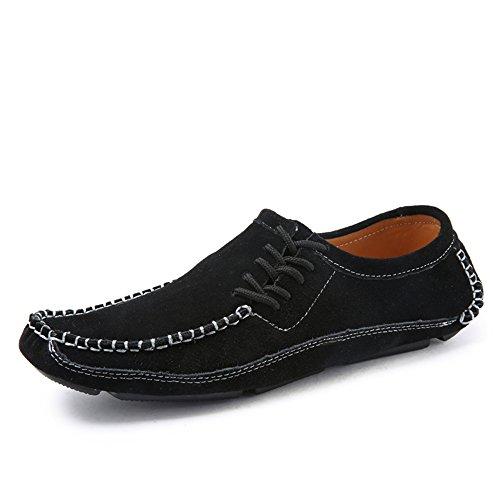 Slip Shoes Piatto Vamp Driving Spillo da Unita Tinta a Unita Cricket Tinta Men's Nero Scarpe Tacco on Loafer PvqqXO