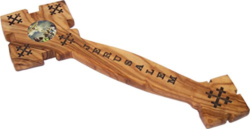 Holy Land Market Blessing Hand or Priest Hand Carved Olive Wood Eastern Cross with Two Icons Model I - 9 Inches
