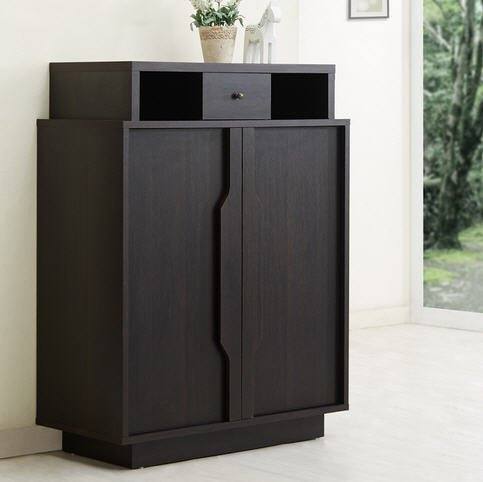 Furniture of America Arthurie Espresso Enclosed 5-Shelf Modern Wood Shoe Storage Cabinet Ideal Organizer For Your Shoes
