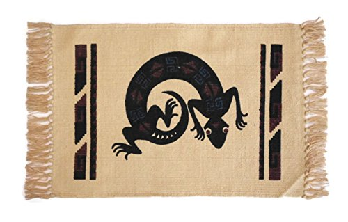 SB Co Southwest Cotton Stencil Placemats-Lizard Black, Blue, Brown Silhouette by SB Co