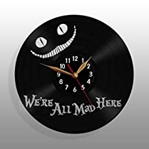 "Cheshire Cat Smile Clock / Alice in Wonderland Vinyl Record Wall Clock / We're All Mad Here clock 12"" (30cm) / Made of Vintage Vinyl Record"