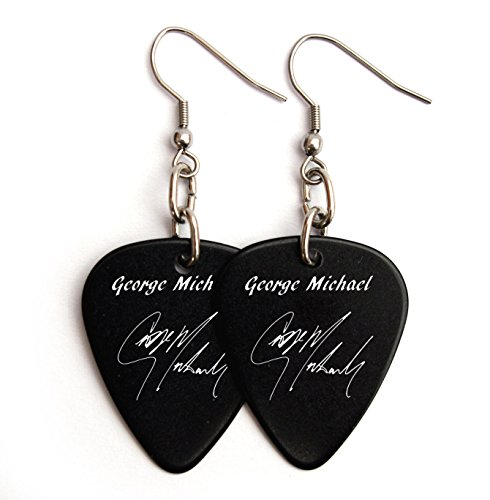 George Michael Wham Costume (GEORGE MICHAEL WHAM guitar pick EARRINGS SIGNATURE stainless steel)