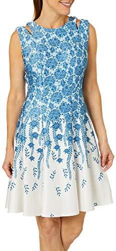 Gabby Skye Women's Sleeveless Round Neck Scuba Fit & Flare Dress W. Cut Out, Ivory/Denim 4