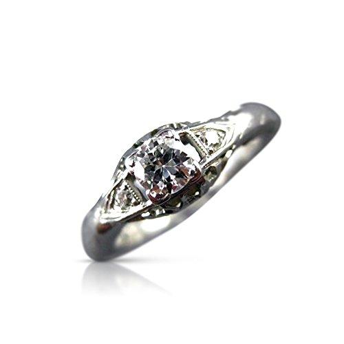 Milano Jewelers .35CT OLD MINE DIAMOND PLATINUM & 14K WHITE GOLD ENGAGEMENT RING #10643 -
