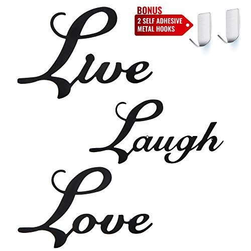 Set of 3 Kitchen Wall Décor Art Signs ... Laugh /& Love Black Metal Signs Live