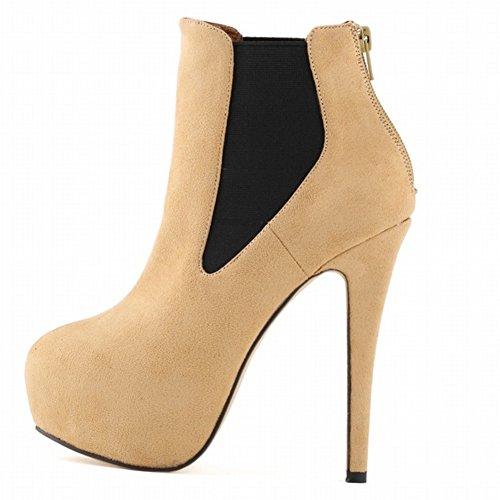 HooH Women's Zipper Elastic Round-toe Platform Stiletto Pump Ankle Increases Boot Beige