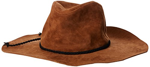 San Diego Hat Company Women's 3.75 Brim Faux Suede Floppy Fedora Hat with Braided Trim, Tobacco, Total Units