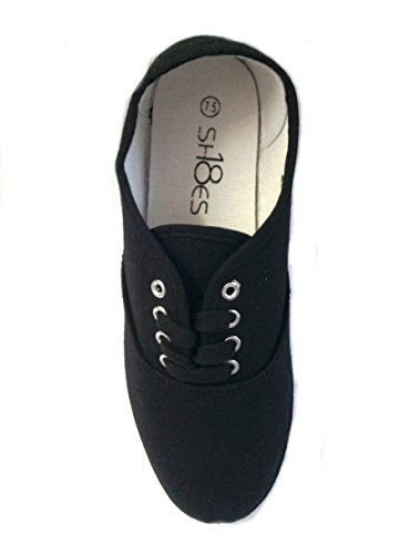 Shoes8teen Schuhe 18 Damen Canvas Schuhe Schnürschuhe Sneakers 18 Farben erhältlich Schwarz Schwarz