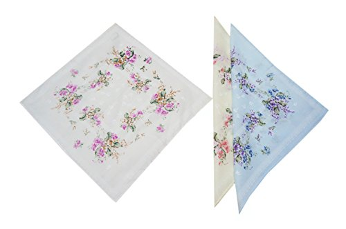 KINGDESON Women Assorted Flower Printed Cute Large Handkerchiefs Wedding Party Fabric Hankies 24PCS
