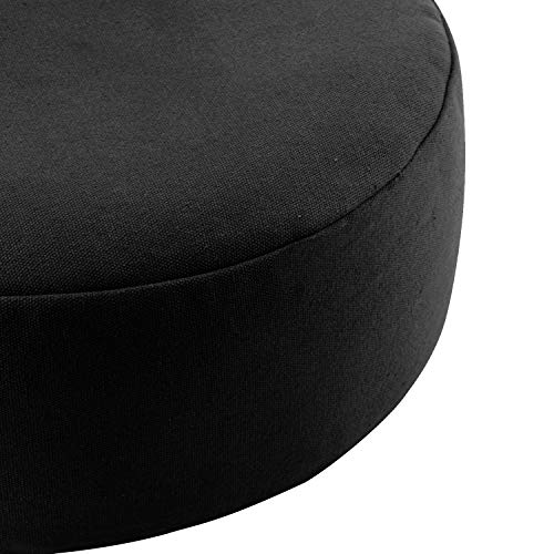 REEHUT Zafu Yoga Meditation Cushion, Round Meditation Pillow Filled with Buckwheat, Zippered Organic Cotton Cover, Machine Washable - 4 Colors and 3 Sizes (Black, 16'x16'x4.5')