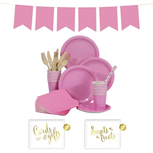 Andaz Press Complete 70-Piece Tableware Kit for 8 Guests, Pink, Includes Plates, Cups, Napkins, Spoons, Forks, Straws, Party Signs, Hanging Pennant Banner Decorations, 1-Set, Girl Baby Shower Baptism