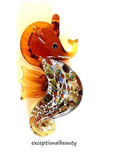 (Amber Topaz Seahorse Hand Blown Lampwork Glass Foil Bead Focal Drop)