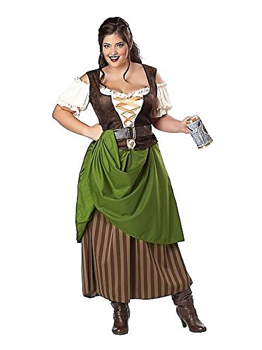 [California Costumes Plus Size Tavern Maiden Costume, Olive/Brown, 3X] (Halloween Costumes Renaissance)